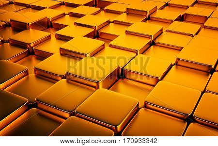 Gold abstract image of cubes background. 3d rendering