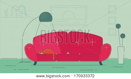 Living room witha a cat illustration navy palette