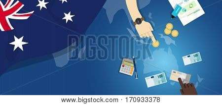Australia Dutch economy fiscal money trade concept illustration of financial banking budget with flag map and currency vector