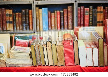 Many Old Books On A Flea Market