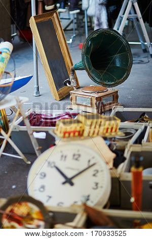 Old Clock And Gramophone On Flea Market In Paris