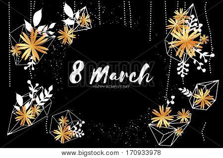 8 March with Geometric Cristal Happy Mother's Day. Paper Cut Gold Floral Greeting card. Origami flower holiday background. Happy Women's Day. Trendy Design Template. Vector illustration
