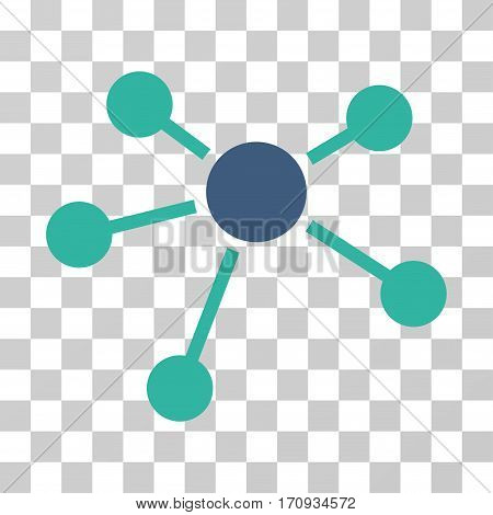 Connections icon. Vector illustration style is flat iconic bicolor symbol cobalt and cyan colors transparent background. Designed for web and software interfaces.