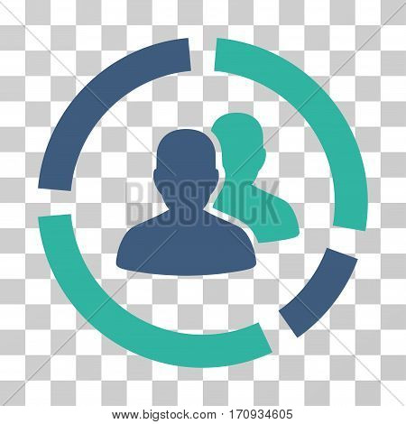 Demography Diagram icon. Vector illustration style is flat iconic bicolor symbol cobalt and cyan colors transparent background. Designed for web and software interfaces.