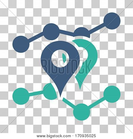 Geo Trends icon. Vector illustration style is flat iconic bicolor symbol cobalt and cyan colors transparent background. Designed for web and software interfaces.