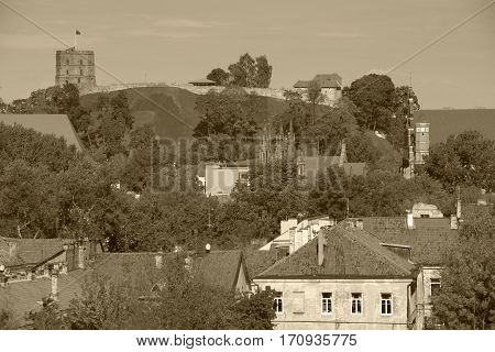 Vilnius, Tower of Gediminas, symbol of Vilnius Summer, sepia toned photo