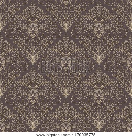 Seamless damask pattern. Traditional classic orient ornament with golden outline