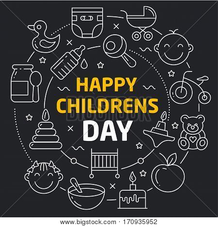 Vector linear illustration dark background happy childrens day
