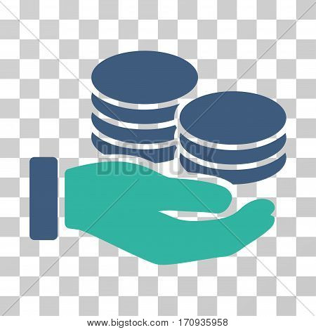 Salary Hand icon. Vector illustration style is flat iconic bicolor symbol cobalt and cyan colors transparent background. Designed for web and software interfaces.