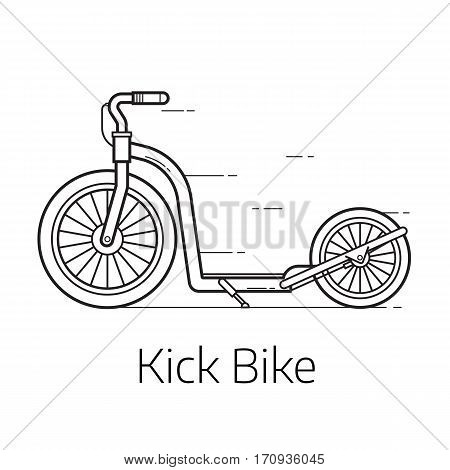 Kick scooter vector illustration. Alternative city transport balance bike or push bicycle in thin line design. Modern eco friendly vehicle and personal transportation gadget.