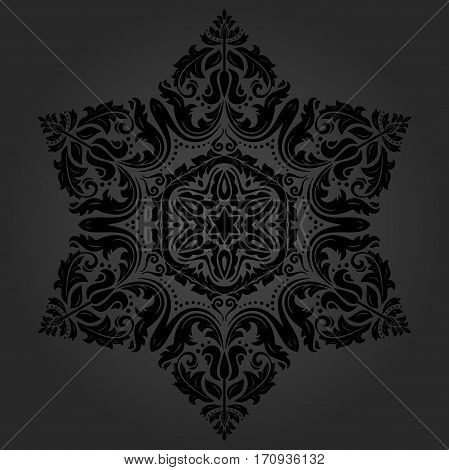 Oriental dark pattern with arabesques and floral elements. Traditional classic ornament
