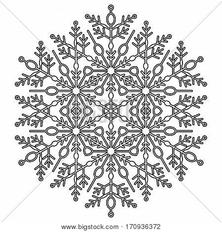 Round snowflake. Abstract winter ornament. Black and white colors