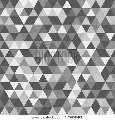 Geometric pattern with black, gray and white triangles. Seamless abstract background