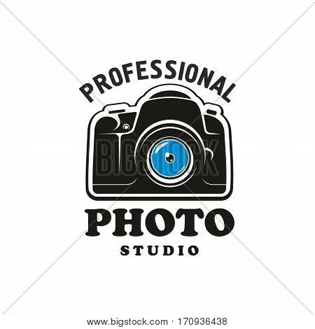 Photography and photo studio symbol. Camera black sign with headers for professional photo studio emblem, label, badge design