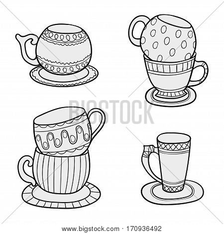 Line art cups. Tea cups in sketch vector style for coloring book - hand drawn doodle