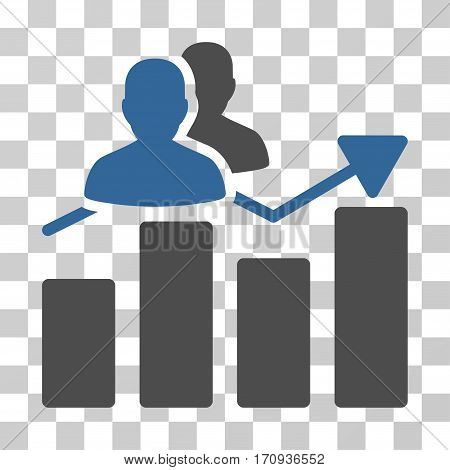 Audience Graph icon. Vector illustration style is flat iconic bicolor symbol cobalt and gray colors transparent background. Designed for web and software interfaces.