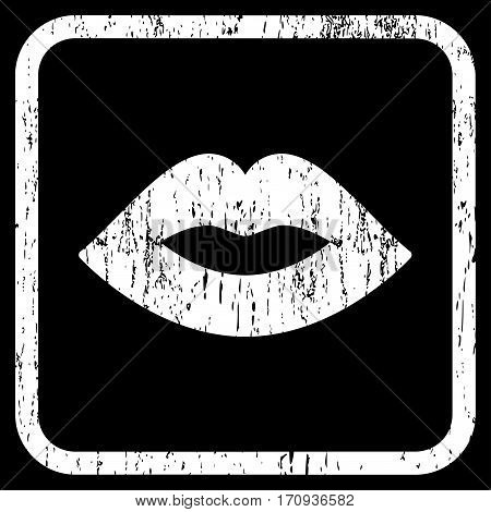 Lips rubber watermark. Vector icon symbol inside rounded rectangular frame with grunge design and scratched texture. Stamp seal illustration. Unclean white ink sticker on a black background.