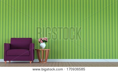 Purple sofa in a green room 3d rendering image where the walls are decorated with wallpaper with vertical green pattern.