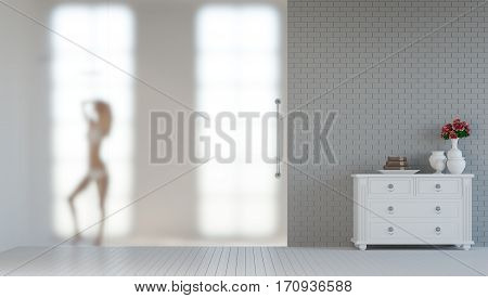 Sexy women shower behind frost glass 3d rendering image .The bathroom has a frosted glass wall A silhouette of a woman in a bath with a shelf style vintage placed in front of the room.