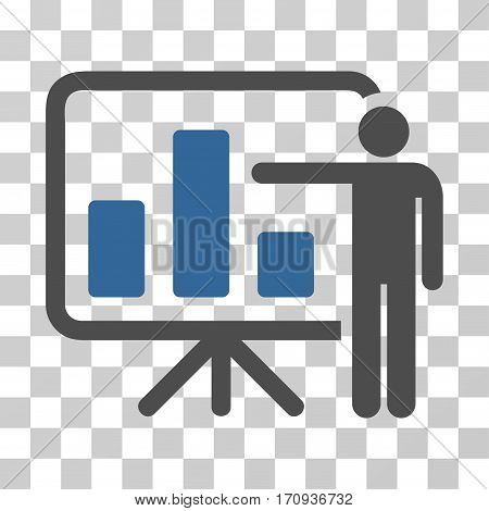 Bar Chart Presentation icon. Vector illustration style is flat iconic bicolor symbol cobalt and gray colors transparent background. Designed for web and software interfaces.