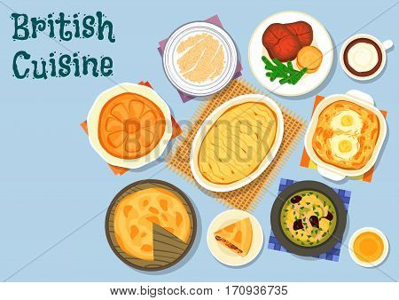 British cuisine lunch menu icon with lamb vegetable soup, roast beef with yorkshire pudding, beef kidney pie, potato cabbage casserole with eggs, milk porridge, lamb potato casserole, honey pie