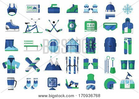 Winter sports icon set. Skiing, snowboarding and other snow activities vector objects. Snowboard and ski equipment with ski resort elements in flat design.