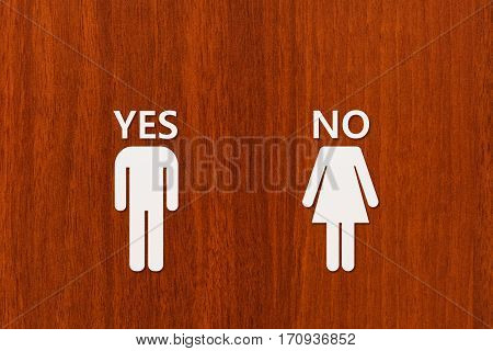 Paper man with YES text and woman with NO on wooden background. Unrequited love or divorce concept. Abstract conceptual image