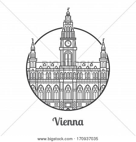 Travel Vienna icon. Gothic City Hall is one of the famous architectural landmarks and tourist attractions in capital of Austria. Thin line catholic clock tower icon in circle.