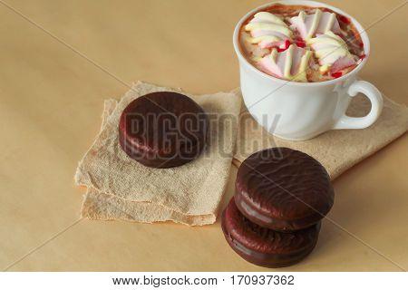 Delicious Mini Cakes And Hot Cocoa