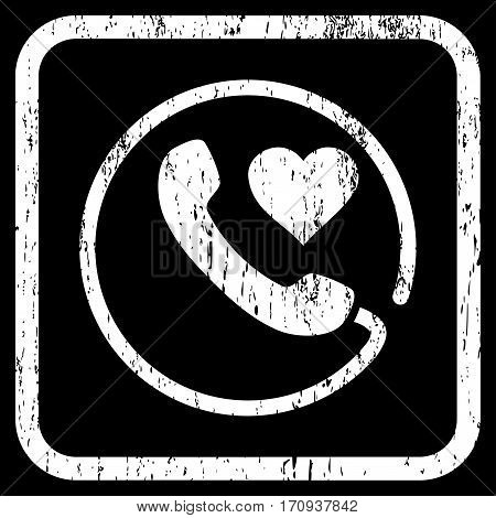 Love Phone rubber watermark. Vector pictogram symbol inside rounded rectangle with grunge design and dirty texture. Stamp seal illustration. Unclean white ink sign on a black background.