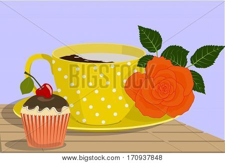 Yellow spotted cup, orange rose and cake on a wooden table on lilac background, vector illustration