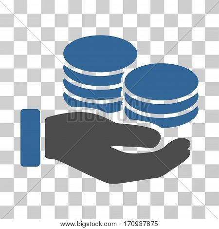 Salary Hand icon. Vector illustration style is flat iconic bicolor symbol cobalt and gray colors transparent background. Designed for web and software interfaces.