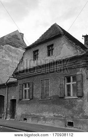 BrasovTransylvaniaRomania - September 22 2016 : Old House in Black and White circa 2016