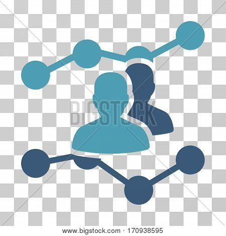 Audience Trends icon. Vector illustration style is flat iconic bicolor symbol cyan and blue colors transparent background. Designed for web and software interfaces.