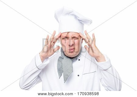 Headache Have Overwrought Chef Portrait Isolated On White Background