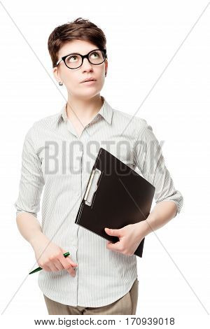 Discouraged Female Accountant Thought On A White Background