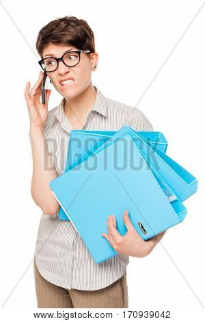 Emotional Baffled Girl Talking On The Phone With The Boss In Isolation