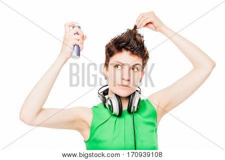 Beautiful Girl Straightens Hairspray Hairstyle With Headphones Around His Neck