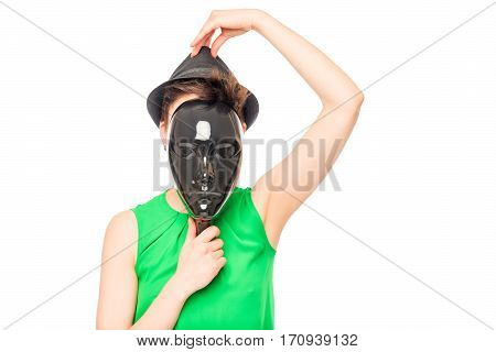 A Mysterious Stranger In A Hat And A Black Mask On A White Background