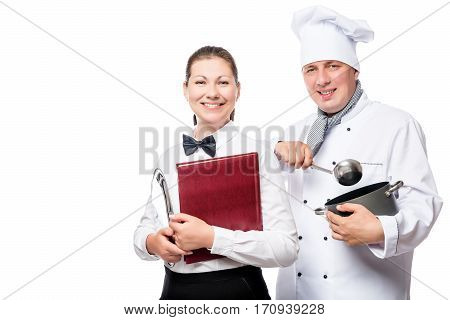 Happy Waitress And Chef With Cooking Utensils On A White Background