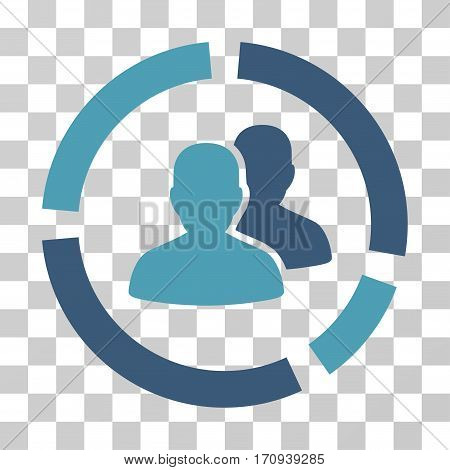 Demography Diagram icon. Vector illustration style is flat iconic bicolor symbol cyan and blue colors transparent background. Designed for web and software interfaces.