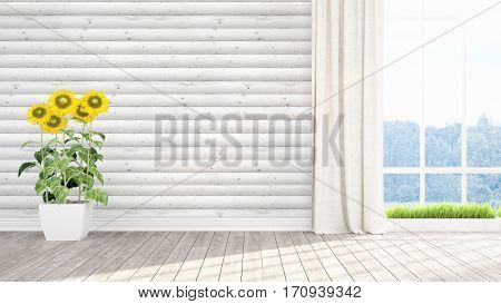 Beautiful empty modern living room interior with sunflowers. 3D rendering