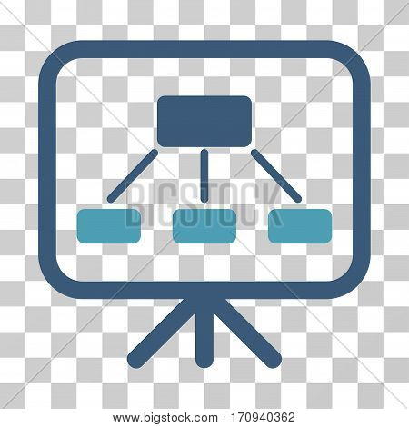 Scheme Demonstration Screen icon. Vector illustration style is flat iconic bicolor symbol cyan and blue colors transparent background. Designed for web and software interfaces.