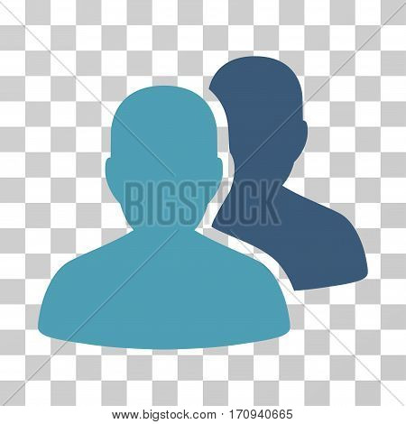 User Accounts icon. Vector illustration style is flat iconic bicolor symbol cyan and blue colors transparent background. Designed for web and software interfaces.
