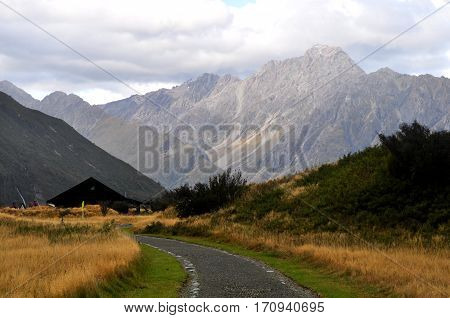 Straight highway leading through the Southern Alps, New Zealand