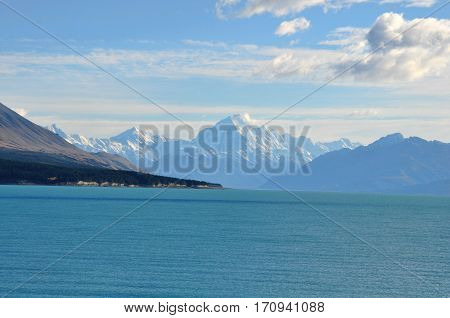 mount cook viewpoint with the lake pukaki and the road leading to mount cook village