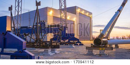 SZCZECIN, POLAND-CIRCA july 2016:Factory platforms for offshore wind, Ostrow Grabowski, Szczecin,