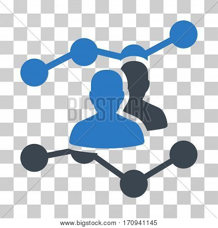 Audience Trends icon. Vector illustration style is flat iconic bicolor symbol smooth blue colors transparent background. Designed for web and software interfaces.
