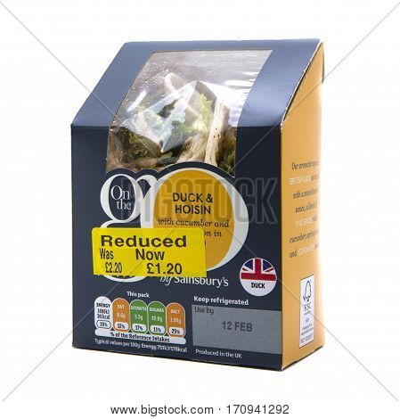 SWINDON UK - FEBRUARY 13 2017: Reduced Duck and Hoisin wraps fron Sainsbury's on a white background