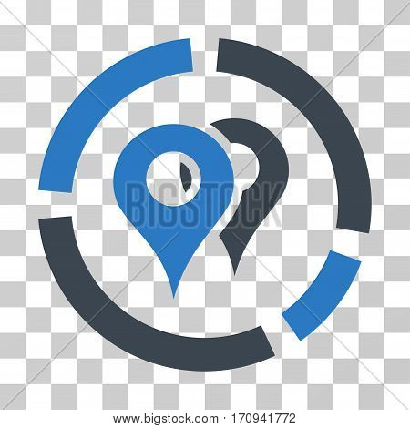 Geo Diagram icon. Vector illustration style is flat iconic bicolor symbol smooth blue colors transparent background. Designed for web and software interfaces.